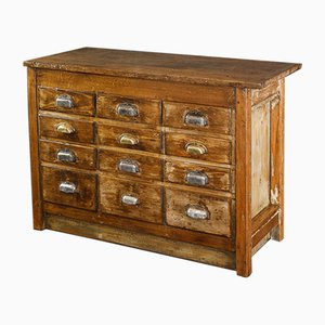 Vintage Wooden Drawer Cabinet with Shell Handles