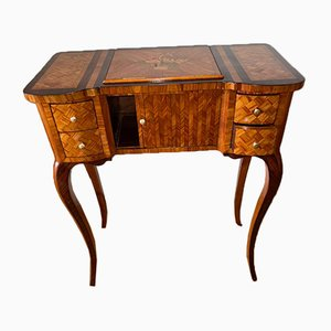 Transition Style Reading or Writing Table in Wood Marquetry, 19th Century