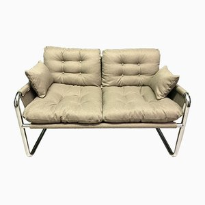 Vintage Two-Seater Sofa with Metal Frame