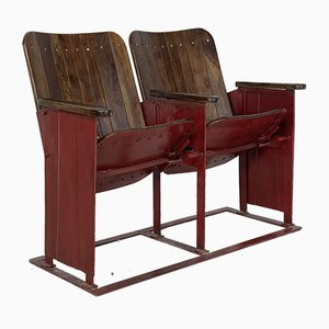 Vintage Wooden Folding Cinema Seats