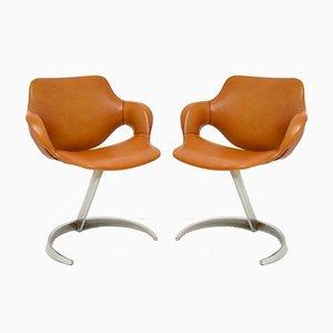 Französische Leder & Chrom Scimitar Stühle von Boris Tabacoff für Mobilier Modulaire Moderne, 1970er, 2er Set