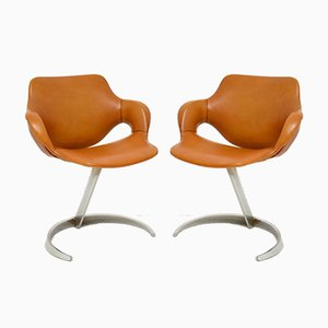 French Leather & Chrome Scimitar Chairs by Boris Tabacoff for Mobilier Modulaire Moderne, 1970s, Set of 2