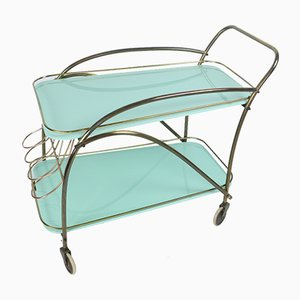 Mid-Century Trolley with Turquoise Glass, 1950s