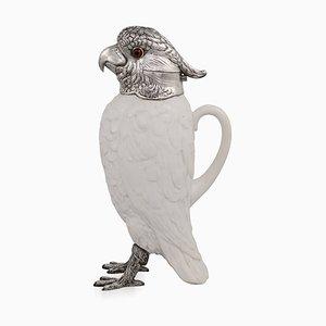Pichet Claret Cockatoo en Argent Massif & Porcelaine du 20ème Siècle, 1920s