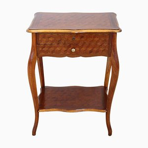 Vintage Marquetry Wood Side Table or Vanity Table, 1930s