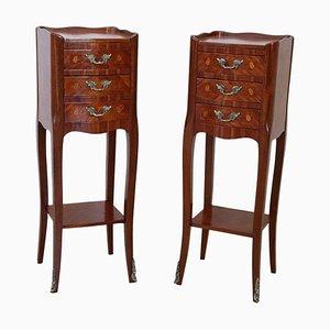 Vintage Nachttische aus Holz mit Intarsien, 1950er, 2er Set