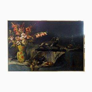 Naturaleza muerta, óleo sobre tabla, Francia, principios del siglo XX