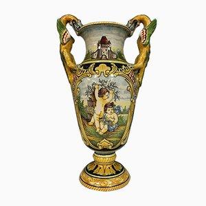 Große Vase mit handbemalter antiker Dekoration, spätes 19. Jh