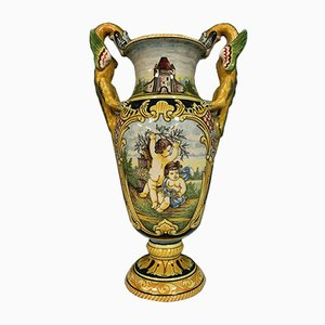 Large Vase with Antique Hand-Painted Decoration, Late 19th Century