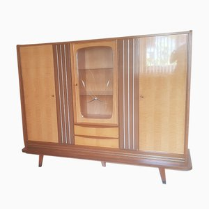 Multifunction Birch, Walnut, Brass and Vinyl Cabinet with 2 Drawers and Decorated Glass Panel, 1950s