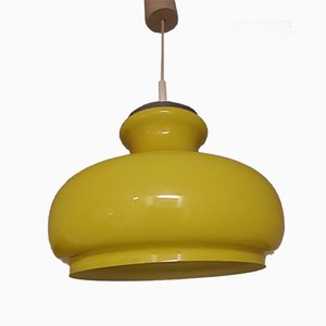 Vintage Yellow Flashed Glass Ceiling Lamp with Chrome Plated Metal Mount from Honsel, 1970s
