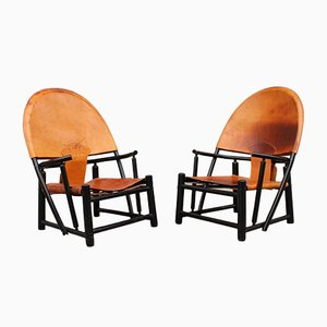Black Lacquered Wood & Leather Armchairs by Toffoloni Polange for Germa, 1970, Set of 2