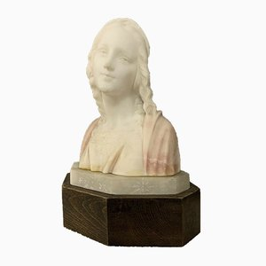 Art Nouveau Two Colored Alabaster Bust from Masi