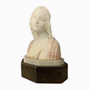 Buste Art Nouveau Bicolore en Albâtre de Masi
