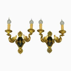 Vintage Bronze Swan Sconces, Set of 2