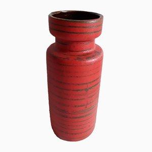 Vase Number 517-30 Vintage en Céramique Orange avec Rayures Vertes Irrégulières par Scheurich, 1970s
