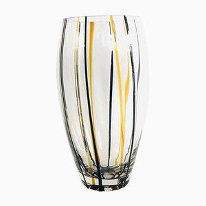 Vintage Handmade Striped Art Crystal Glass Vase, 1970s