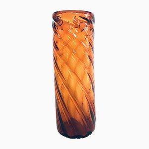Big Art Nouveau Amber Twisted Glass Vase, 1920s