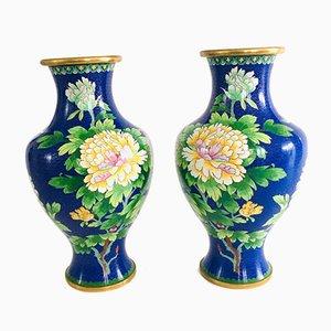 Big Chinese Blue Flower Illustrated Cloisonné Enamel Vases, 1960s, Set of 2
