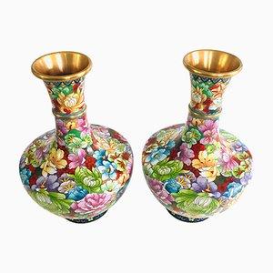Chinese Flower Illustrated Cloisonné Enamel Vases, 1960s, Set of 2