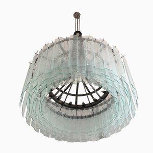 Lustre Industriel en Métal à 24 Lampes avec Verre Décoratif