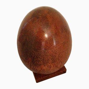 Art Deco Burl Wood Egg Sculpture, Set of 2
