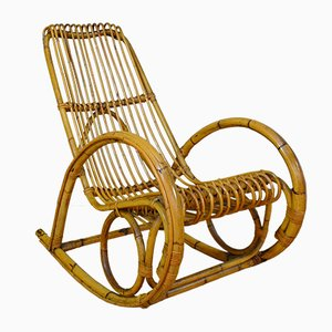 Vintage Bamboo Rocking Chair, Italy, 1960s