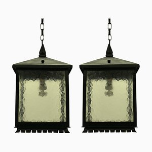 Lanterne Mid-Century quadrate in ferro battuto, set di 2