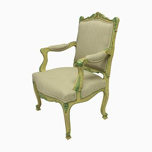 Poltrone in stile Luigi XVI in vernice verde e gialla, set di 2