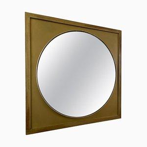 Specchio rotondo vintage con cornice quadrata dorata, anni '70