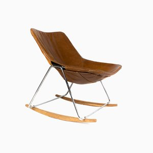 Leather G1 Rocking Chair by Pierre Guariche for Airborne, France