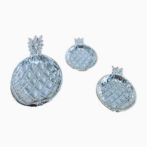 Coupes ananas en métal argenté 1970's
