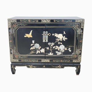 Small Vintage Lacquered Wood Cabinet with Soapstone Decorations, 1930s