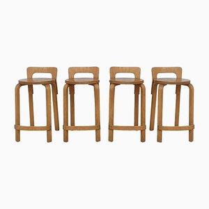 K65 Stools by Alvar Aalto for Artek, 1960s, Set of 4