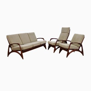 Dutch Lounge Chairs and 3-Seat Sofa in Teak from De Ster Gelderland, 1960s, Set of 2