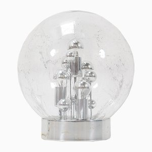 Big Mid-Century Modern Smoked Glass Globe Floor Lamp by Doria for Doria Leuchten, Germany, 1970s