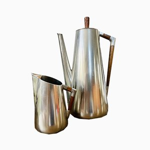 Mid-Century Modern Tin and Teak Coffee Service from Royal Holland Pewter KMD Tiel, 1960s, Set of 2
