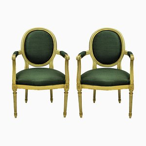 French Louis XV Style Gilded Armchairs, 1950s, Set of 2