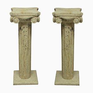 Mid-Century Travertine Column Pedestals, 1960s, Set of 2