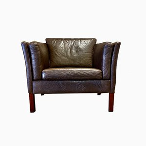 Scandinavian Brown Leather Lounge Chair, 1970s