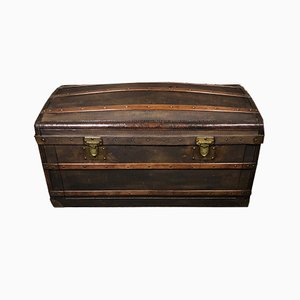 Curved Wooden Trunk in Coated Canvas from Moynat, 1900s