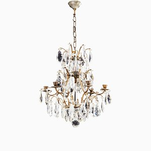 Antique Rococo Crystal 6-Arm Chandelier with Different Cut Crystals, 1900s