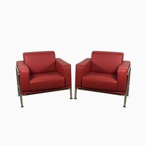 Chaises Kea Imitation Cuir Rouge & Chrome de Emmegi, Set de 2