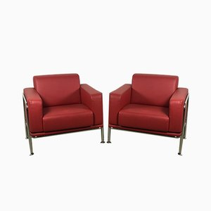 Red Imitation Leather and Chrome Kea Chairs from Emmegi, Set of 2