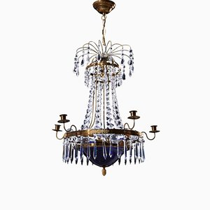 Antique Empire Crystal 6-Arm Chandelier with Decorative Blue Glass Bowl, 1900s