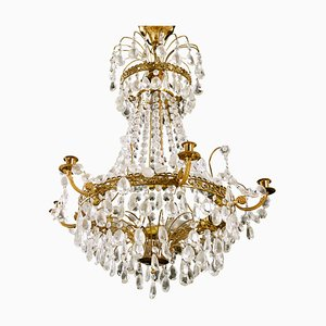 Antique Empire Crystal 6-Arm Chandelier with Different Cut Crystals, 1900s