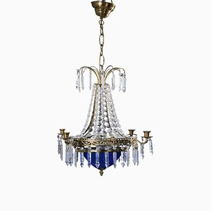Crystal Chandelier with Blue Glass Bowl, 1900s