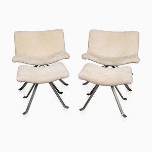 20th Century Swivel Chairs & Footrests in Natural Shearling, 1980s, Set of 2