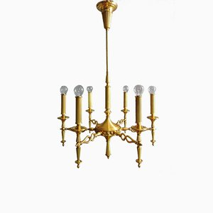 Chandelier with Six Lights in Gold-Plated Brass by Oscar Torlasco for Lumi Milano, Italy, 1960s