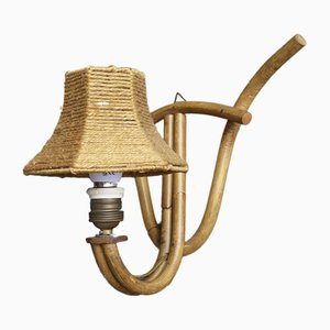 Bohème Französische Wandlampe aus Bambus, 1950er